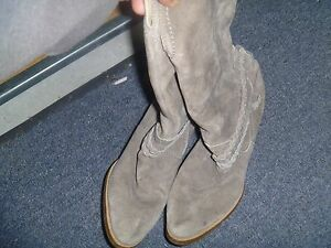 Unbranded Tall Leather Gray Braided boots Size 6 RB 11543