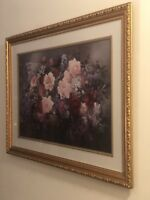 floral oil painting on canvas. Signed by Victor Santos. Wood Frame. Glass Cover.