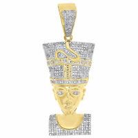"10K Yellow Gold Diamond Nefertiti Pendant Egyptian Queen 2.30"" Charm 1.33 Ct."