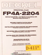 Deckel FP4A 2204, Universal Milling and Boring, Spare Parts Manual 1984