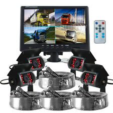 9'' Quad Split Screen Monitor Reverse Backup Parking Camera 4x Rear View Camera