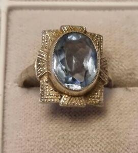 ArT DecO Silber Ring blauer Schmuckstein   925er  Top!
