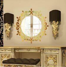 Argent Miroir Moderne Fleur Autocollant Mural Rond maquillage Décalcomanie