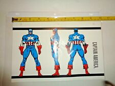 RARE Vintage Avengers Character CAPTAIN AMERICA Power Rating Bio Sheet Card