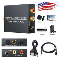 Coaxial Optical Digital to Analog Audio Converter Adapter RCA R/L 3.5mm Jack out
