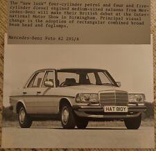 Rare 1982 MERCEDES W123 E Class Official Press Photo NEC Motor Show HAT810Y MINT