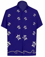 LA LEELA Men's Funky Hawaiian Shirt Aloha Beach Party Holiday Camp XS Blue_W848