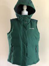 Columbia Winter Challenger Down 550 Women Hooded Vest Dark Green Sz XL $150 NWT