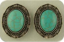 2 Hole Beads Faux Turquoise Oval Cabochons Ruffle Filigree Frames ~Sliders QTY 2