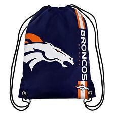 Denver Broncos NFL Big Logo side Stripe DrawString Backpack Backsack Bag