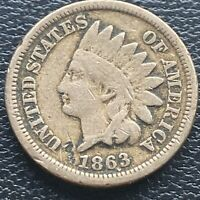 1863 Indian Head Cent 1c One Penny Circulated #23619