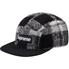 SUPREME Plaid Fleece Camp Cap Black Box Logo hoodie pcl safari F/W 14