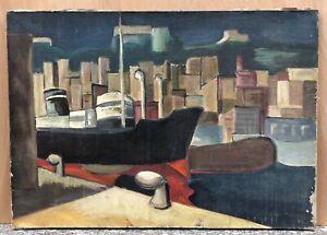 Tableau Huile Paysage Moderniste Marine Quai Bateau Paquebot Building 1930