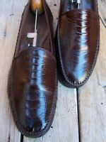 JOHNSTON MURPHY Mens Dress Shoes Brown Ostrich Leather Casual Loafers Sz Size 8M