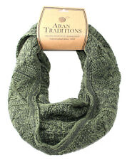 Aran Traditions Womans Ladies Men Winter Warm Knitted Style Green Snood