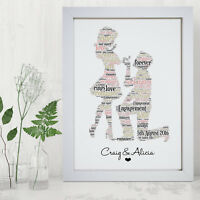 Personalised Engagement Print Frame Engaged Gift Idea Unique Gifts For Couples