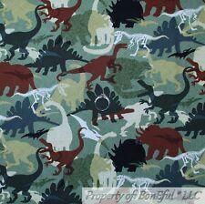BonEful FABRIC Cotton Quilt Green Camouflage Camo Dinosaur Boy Scout Sale SCRAP