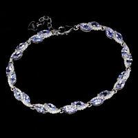Unheated Marquise Blue Tanzanite 5x2.5mm Cz 925 Sterling Silver Bracelet 7.5 Ins