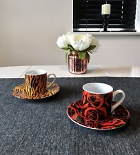 Konitz Rose And Tiger Stripe Porcelain Espresso Cups And Saucers