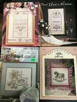 Lot of 4 Cross Stitch Pattern Booklets Samplers Rocking Horse Quilt
