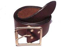Brass Rectangle Roller 2 Inch Leather Belt Waist Size Mens Ladies Black Brown