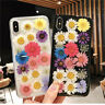Soft Clear Phone Case For IPhone 11 Pro Max XR X Glitter Dry Real Flowers Cover