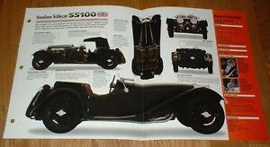 ★★1937 JAGUAR SS100 SWALLOW SIDECAR ORIGINAL IMP BROCHURE SPECS INFO 37 SS 35-39