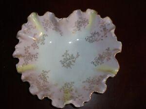Vintage  Fluted Porcelain  Pink Serving  Dish  Flower Bird Gold Edge