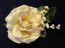 "Ivory White Millinery Flower 4"" Velvet Rose + Forget MeNots for Hat + Hair Y254"