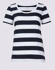 Ladies Marks & Spencer M&S Blue White Stripe Supima Cotton Top T Shirt 8-22 NEW