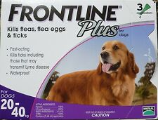 Frontline Plus (3-Pack / 3 Months) PURPLE for Dogs 45-88 lbs 20-40KG NIB