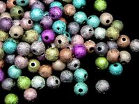 100 Pcs -  6mm Multi Coloured Acrylic Stardust Spacer Beads Bead Jewellery T95