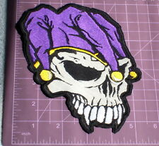 """Large Jester Skull Head Embroidered Patch 7""""x5"""""""