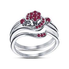 Round Brilliant Cut Pink Sapphire Platinum Plated Ladies Promise Bridal Ring Set