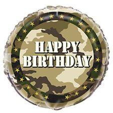 "18"" FOIL BALLOON HAPPY BIRTHDAY PARTY ARMY CAMO CAMOUFLAGE FORCES MILITARY KHAKI"