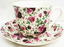 English Rose Large Cup & Saucer Bone China Breakfast Set Hand Decorated in UK