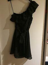 Topshop One Shoulder Black Spotty Dress Size 6 Never Been Worn