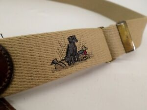 Trafalgar Duck Hunting Belt 36 38 Surcingle Black Lab Dog Leather Canvas USA Vtg