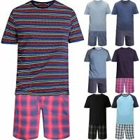 Mens Ex-George Pyjama Set Short Sleeve Top Shorts Summer PJs Cotton Loungewear