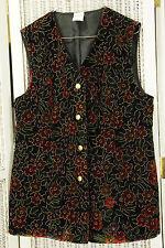 Vintage Velvet Waistcoat 39″ Bust Jewel Tone Metallic Flower Power Tunic Vest