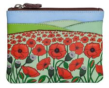 Luxury Picture coin & card purse by Mala Leather 'Poppy Fields' RFID 4210 38