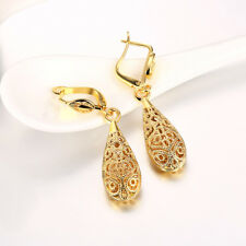 Antique Style 18K Yellow GOLD Filled Filigree Drop Earrings For Women