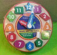 Melissa & Doug Shape Sorting Clock Educational Child's Classic Wood Toy
