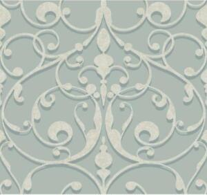 Wallpaper Candice Olson Gray and Blue Large Scroll on Pearlized Light Blue