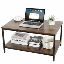Premium Industrial Coffee Table Wood Look Accent Smooth Finish with Metal Frame