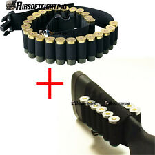 Hunting 25 Round Shotgun Belt + 8 Shells Buttstock Holder for 12 Gauge 20GA