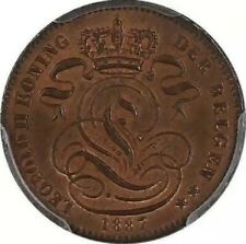 "1887 BELGIUM 1 Centime PCGS MS65 RB [KM#34] ""King Leopold II (1865 - 1909)"""