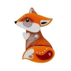 ERSTWILDER X PETE CROMER BROOCH - THE FOOTLOOSE FOX - REGULAR SIZE. NIB.