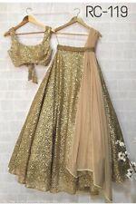 Net Gold Silk Lehenga Choli Ghagra Indian Designer Lengha Bollywood Sari Saree