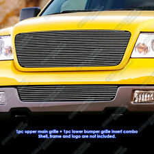 Fits 2004-2005 Ford F-150 Full Face Billet Grille Grill Insert Combo